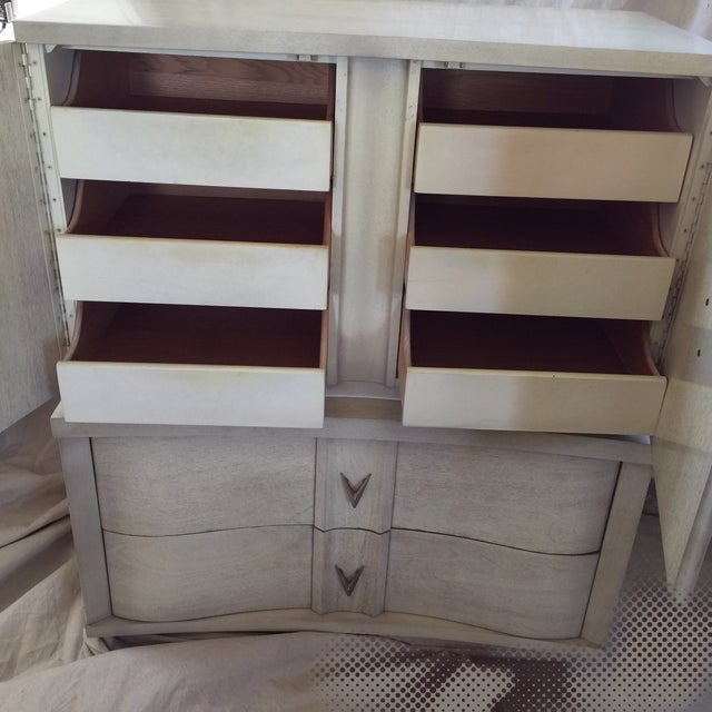 Art Deco Unagusta 1950s Mid Century Tall Boy Dresser For Sale - Image 3 of 7
