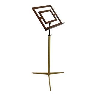 Mid Century Modern Wood & Brass Italian Music Art Pedestal Display Stand For Sale