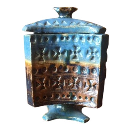 Vintage Vibrant Blue Ceramic Lidded Vase Container - Image 1 of 7