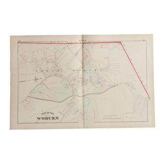 Antique Woburn Massachusetts Atlas Map Plate K