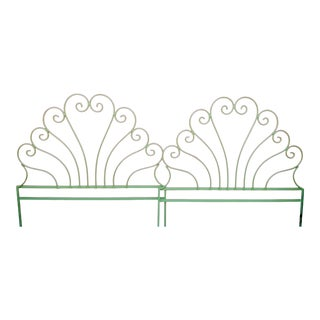 Vintage Iron Bright Green Scroll Palm Beach Regency Twin Size Headboards- a Pair For Sale