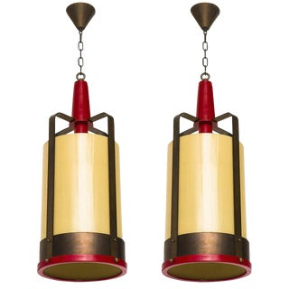 Large Pendant Lamp Lantern With Amber Glass Shade For Sale
