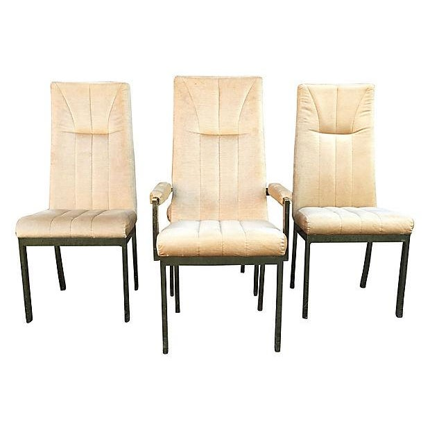 Set of four stylish high-back dining chairs in the style of Milo Baughman with original tan-colored velvet upholstery...