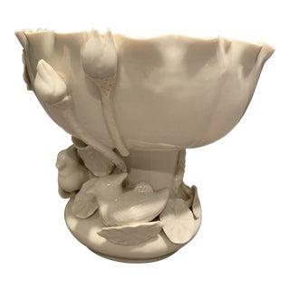 Vintage Porcelain Lily and Bird Vessel For Sale