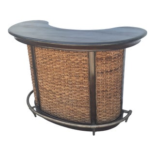 1950s Marble Top Rattan and Walnut Dry Bar For Sale