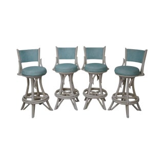 Mid-Century Modern White Painted Bamboo Swivel Bar Stools - Set of 4 For Sale