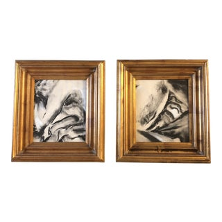 Original Vintage Abstract Pastels a Pair Ornate Frames For Sale