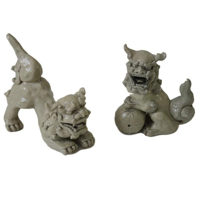 Antique Pottery Foo Dogs, Pair For Sale In Richmond - Image 6 of 6
