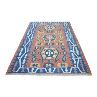 Hand Woven Turkish Flat Weave Wool Area Kilim Oushak Rug For Sale