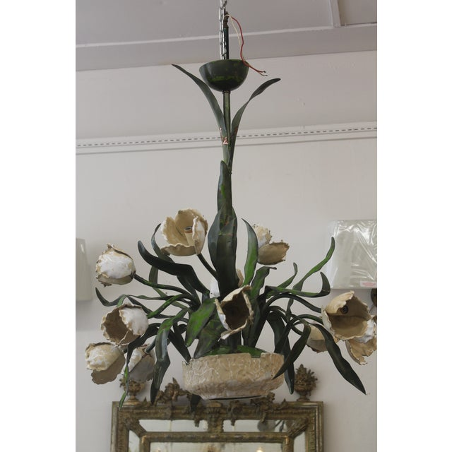 Vintage Ceramic Tulips Chandelier - Image 2 of 6