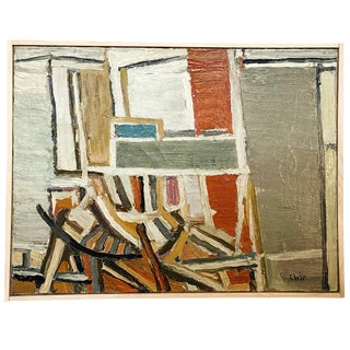20th Century Abstract Books Oil Painting by Daniel Clesse For Sale