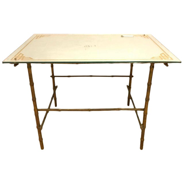 Hollywood Regency Bronze Based Eglomise Top Coffee Table - Image 10 of 10