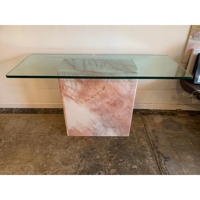 1970s Pink Marble Console With Thick Glass Top For Sale - Image 9 of 9
