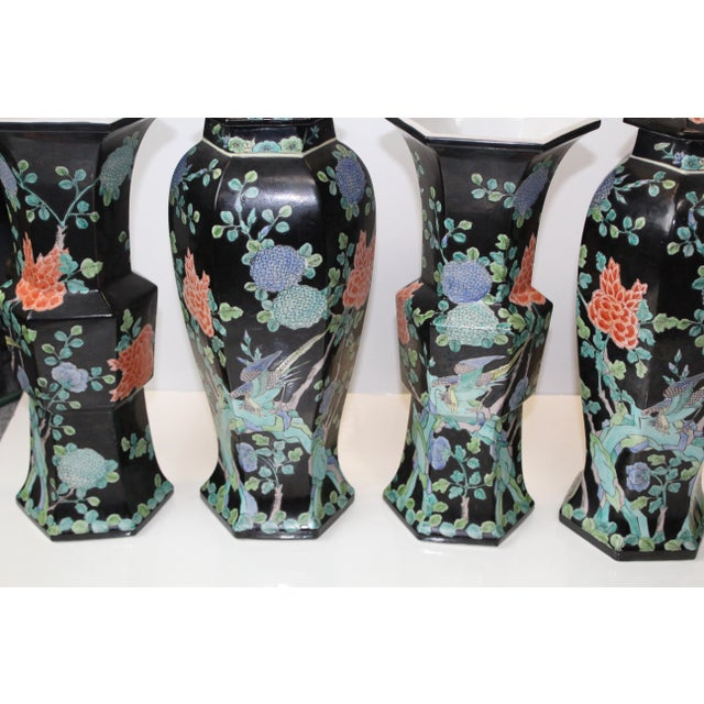 Black Chinese Garniture Black Vases - 5 Pieces For Sale - Image 8 of 9