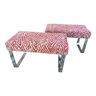 Chrome Benches With Zebra Stripe Fabric - a Pair For Sale