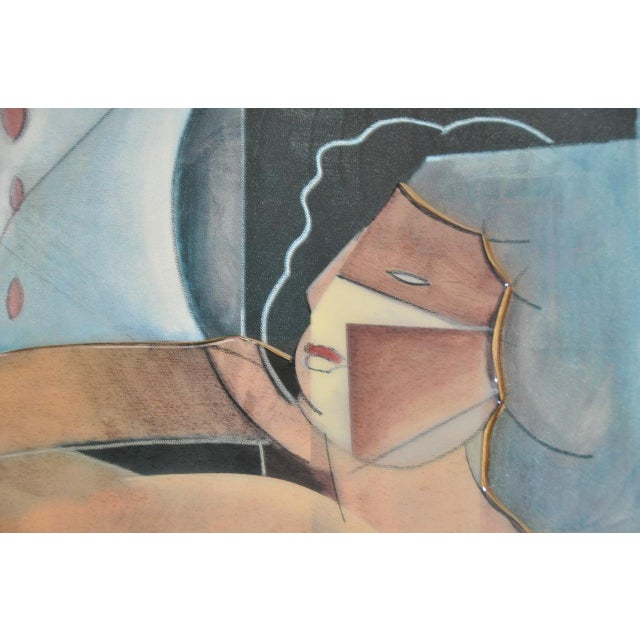 Vintage Cubist Mixed Media Reclining Nude c.1980s Fantastic original artwork. The painting is created with acrylic paint,...