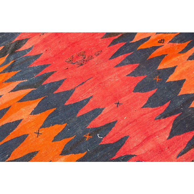 Primitive Vintage Mid-Century Black and Red Wool Runner Rug - 3′8″ × 10′ For Sale - Image 3 of 7