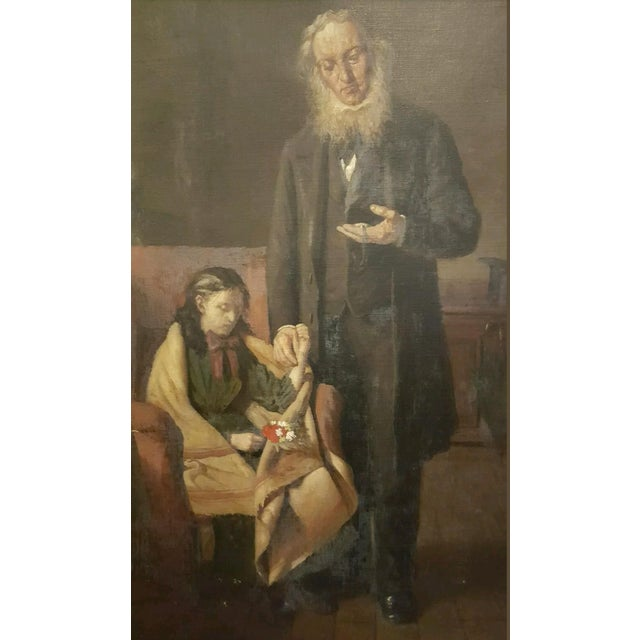 19th Century Antique Oil Painting, Doctor's Visit - Image 2 of 6