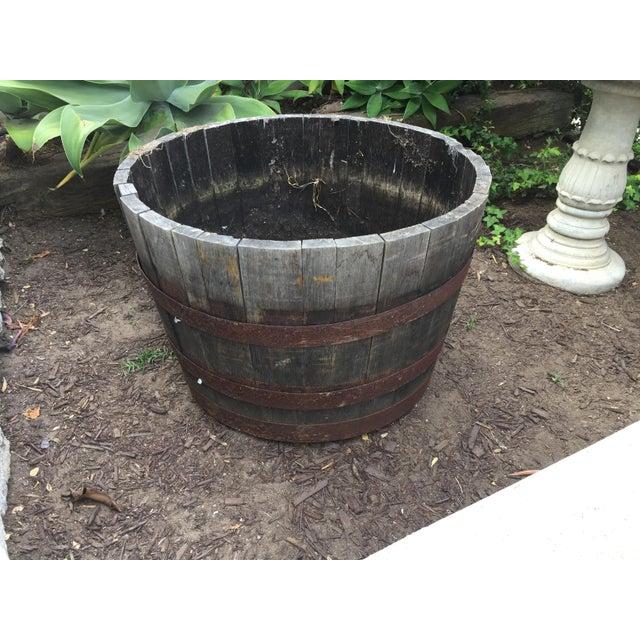 Oak Wine Barrel Half-Barrel Planter - Image 2 of 4