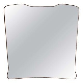 Midcentury Wall Mirror Brass Frame Minimal Design, 1950s For Sale