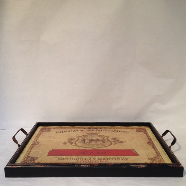 Wood Vintage-Style Italian Licores Tray For Sale - Image 7 of 11