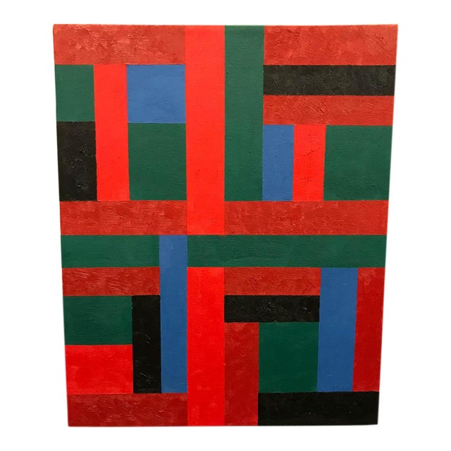 Vintage Adam Kubach Geometric Abstraction Painting - Image 1 of 7
