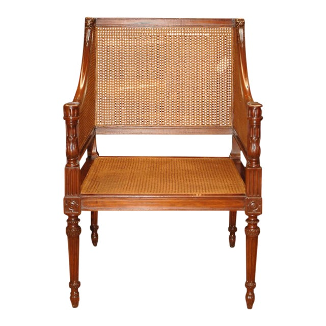 Large Caned Bergere Chair For Sale