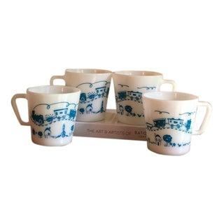 1950s Vintage Blue Train Pyrex Mugs - Set of 4 For Sale
