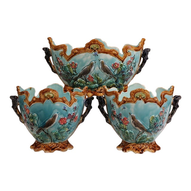 19th Century French Hand Painted Barbotine Cachepots With Bird and Flower Decor For Sale