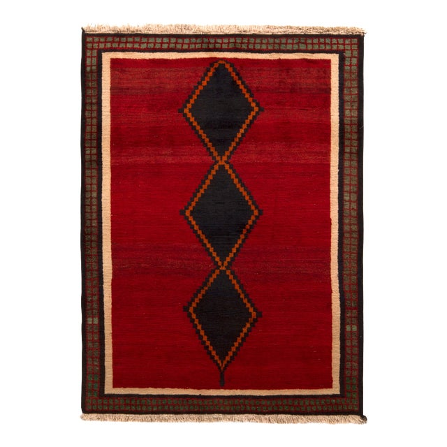 Hand-Knotted Antique Gabbeh Rug Red Beige Green With Black Diamond Pattern For Sale