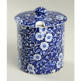 Staffordshire Calico Blue (Burleigh Stamp) Jam/Jelly & Lid Preview
