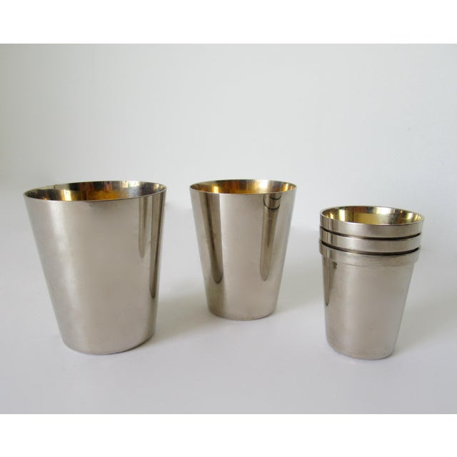 1910s Vintage German Gentleman's Silver Plate & Gold Lined Traveling Cordial Cups - 5 Pieces For Sale - Image 5 of 13