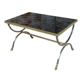 Vintage Maison Jansen Style Metal Coffee Table W/Brass Hoof Feet For Sale