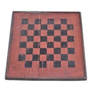 19th Century Game Board in Original Painted Bittersweet and Black Surface For Sale