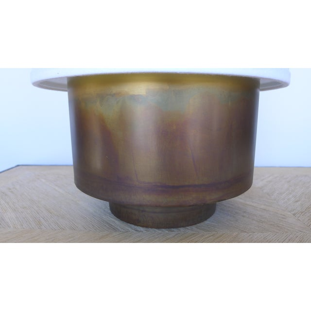 Brass Modern Brass Table Lamp with Linen Shade For Sale - Image 7 of 9