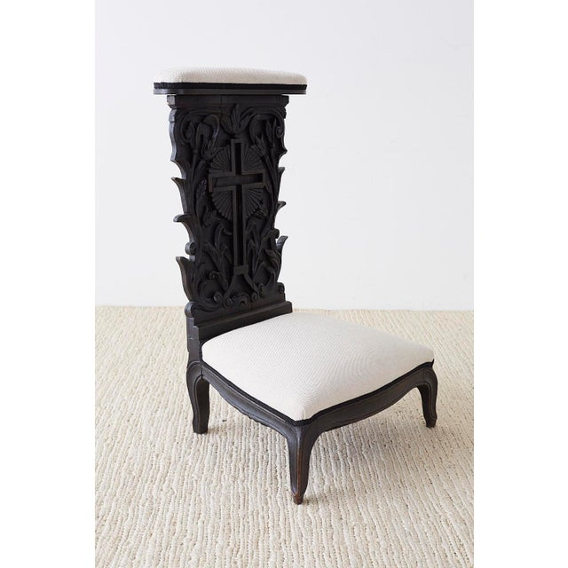Dramatic 19th century French Napoleon III period Prie-Dieu prayer chair. hand carved from oak featuring an ebonized finish...