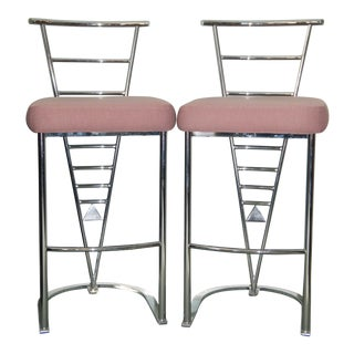 Modern Design Institute of America Chrome Bar Stools- a Pair For Sale