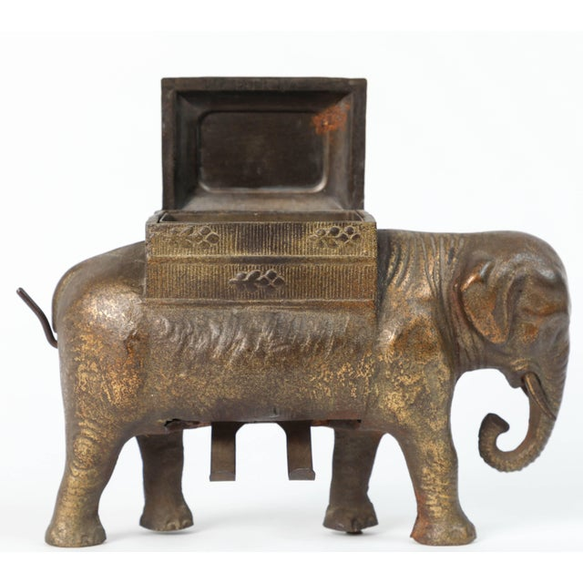 Antique Art Deco Cast Iron Elephant Cigarettes Holder and Dispenser For Sale In Los Angeles - Image 6 of 8
