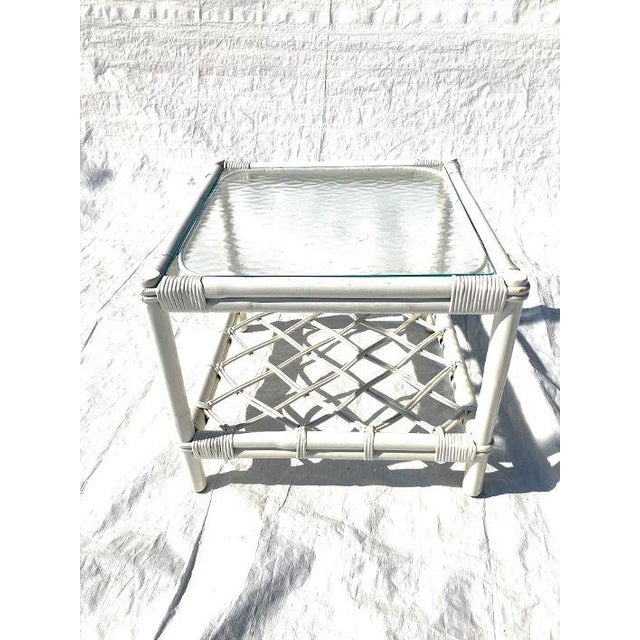 1970s 1970ss Ficks Reed Co. Attributed Rattan Glass Top Side Table For Sale - Image 5 of 5