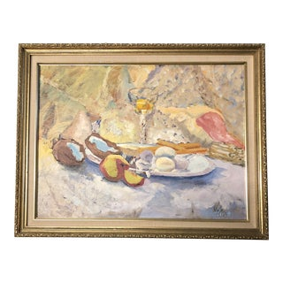 Original Vintage Mid Century Still Life Painting by M. Butler For Sale