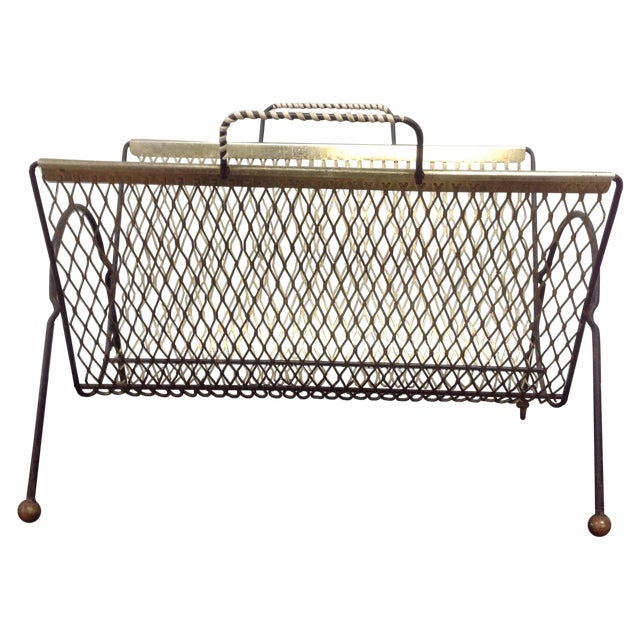 Fredrick Weinberg Black & Gold Mesh Magazine Rack For Sale