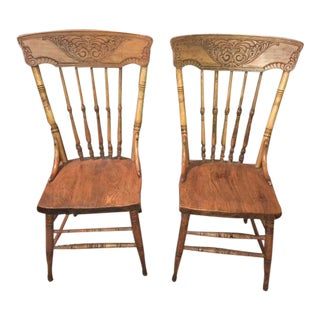 Antique Country Farmhouse Pressed Back Chairs - a Pair For Sale