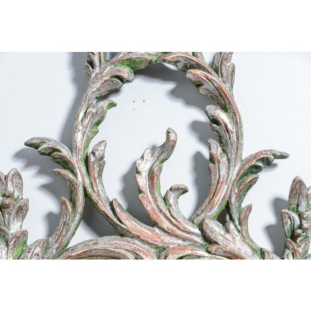 Silver Hollywood Regency Italian Florentine Silver Gilt Wood Mirror For Sale - Image 8 of 13