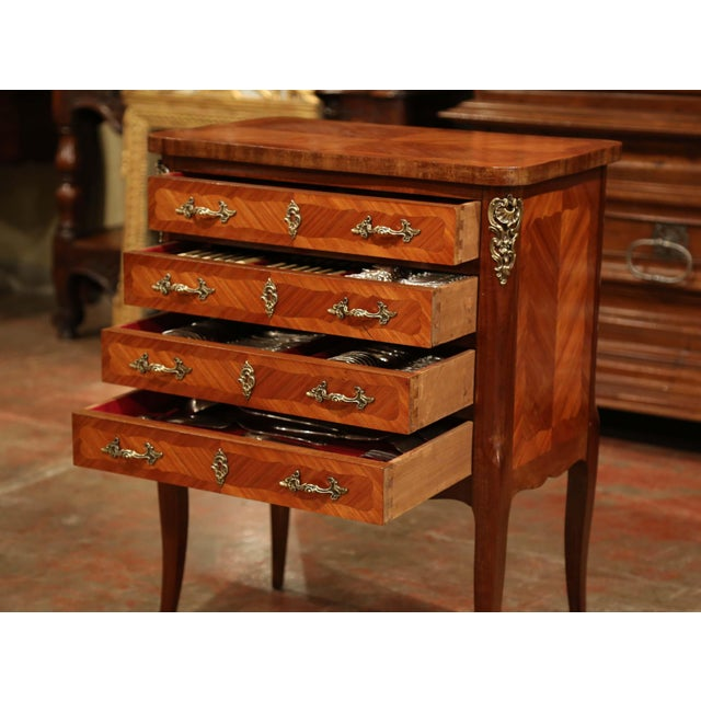 Early 20th Century Louis XV Walnut Marquetry Chest With Silverware, 145 Pieces For Sale - Image 10 of 13
