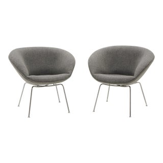 Arne Jacobsen for Fritz Hansen, Restored, Maharam Fabric Pot Chairs - a Pair For Sale