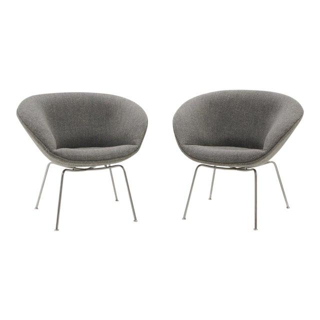 Arne Jacobsen for Fritz Hansen, Restored, Maharam Fabric Pot Chairs - a Pair For Sale