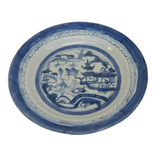 Antique 18th Century Canton Blue & White Plate For Sale