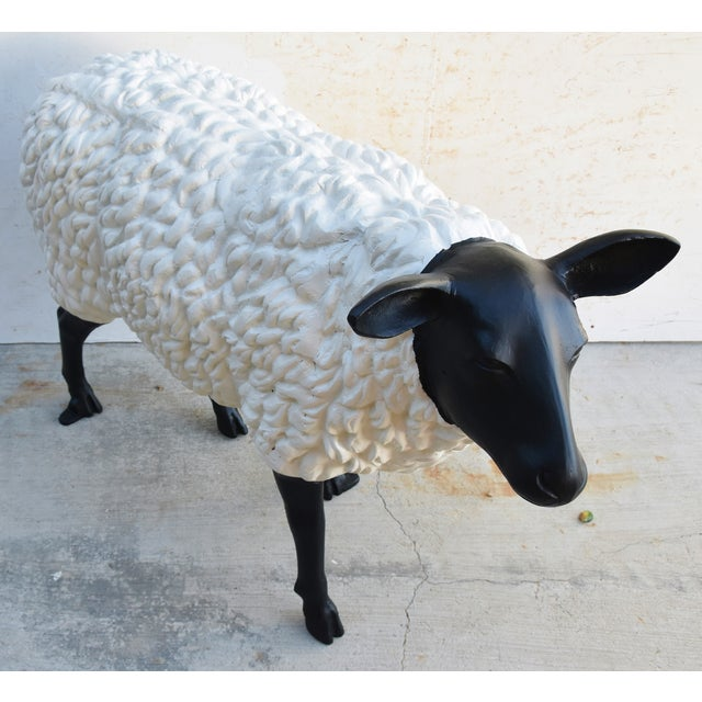 Vintage Metal Life-Size Sheep Lamb Garden, Patio, Lawn or House Statue For Sale In Los Angeles - Image 6 of 13