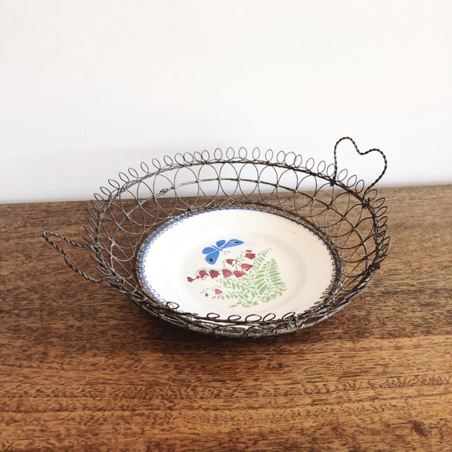 Royal Blue Antique Majolica Plate in Wire Bowl For Sale - Image 8 of 8
