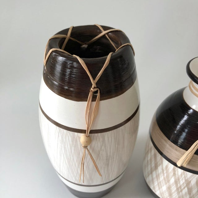 Group of Brazilian Vases With Raffia and Bone Bead Detail For Sale - Image 10 of 12